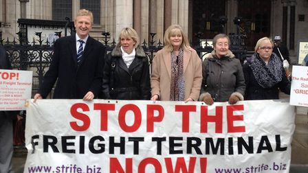 St Albans MP Anne Main and Hertsmere MP Oliver Dowden at a Rail Freight protest. Picture: Supplied