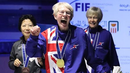 Silvia Brown celebrates one of her World Veterans' Championships victories. Picture: ANDREW BROWN