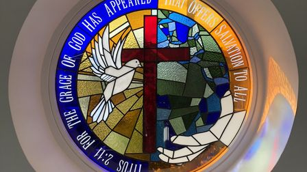 Felicity White's stained-glass window for Harpenden Salvation Army. Picture: Salvation Army