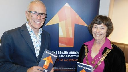 Author and business expert Bruce McKinnon at his book launch in Waterstones with St Albans Mayor Cll