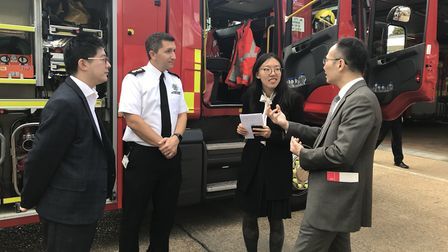 A delegation from China was given a tour of Cambridgeshire Fire and Rescue Service's headquarters in