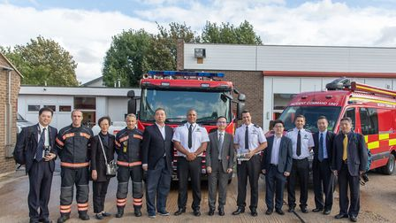 A delegation from China was given a tour of Cambridgeshire Fire and Rescue Services headquarters in