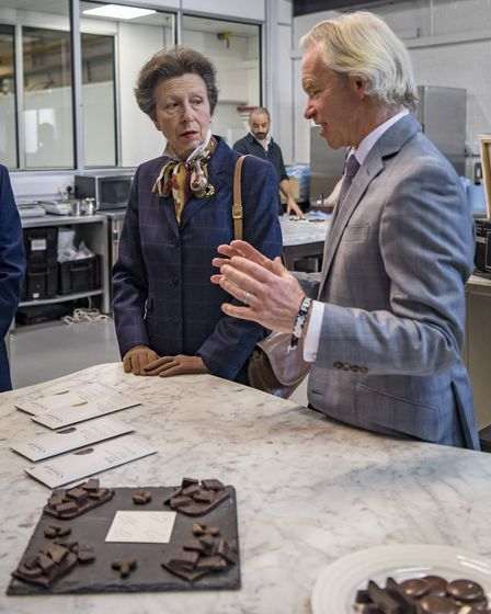 Princess Anne on a visit to Hotel Chocolat in Huntingdon.