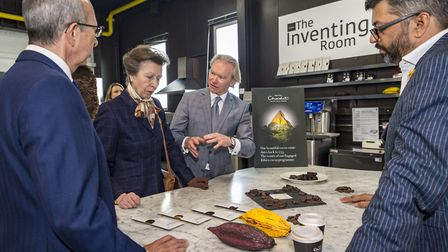 Princess Anne on a visit to Hotel Choclat in Huntingdon.