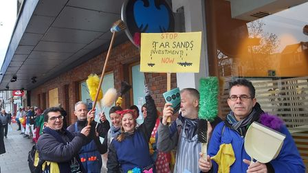 Extinction Rebellion protested outside Barclays bank in St Albans. Picture: Nigel Harvey