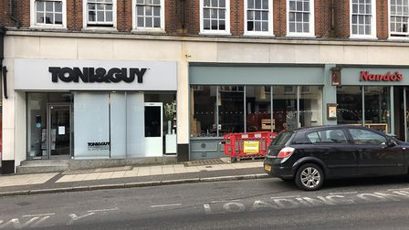 Toni & Guy and Nandos have had a flood this morning which has caused them to close. Picture: Laura B