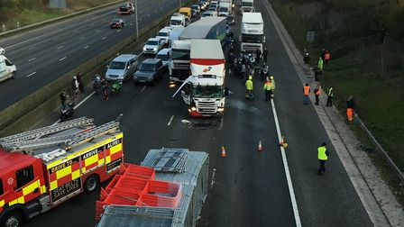 Emergency services are at a huge crash on M1 Southbound Junction 9-8 which has left people trapped i