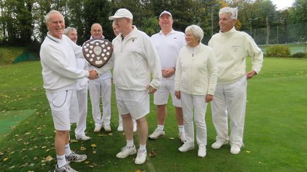 John Dawson (left) presents Chris Frost of St Albans Croquet Club with the Secretary's Shield.