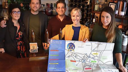 Left to right: Mandy McNeil, vice chair of Save St Albans Pubs, Dylans and The Boot landlord Sean Hu
