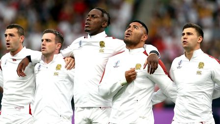 England's Ben Youngs (right), Manu Tuilagi, Maro Itoje and George Ford prior to the 2019 Rugby World