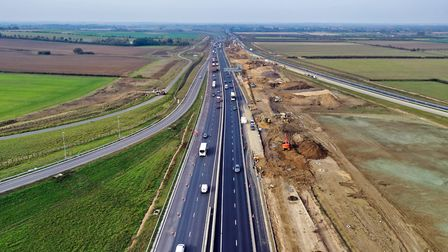 Slip roads to the A14 towards St Ives from Swavesey junction. Picture: GEOFF SODEN