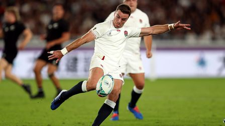 England's George Ford kicks the ball during the 2019 Rugby World Cup Semi Final match at Internation