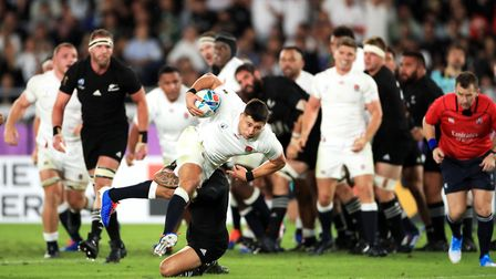 England's Ben Youngs scores a try which is later ruled out following a TMO decision during the 2019