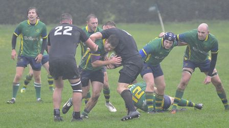Action from Huntingdon's victory against Daventry in Midlands Division Three East (South). Picture: