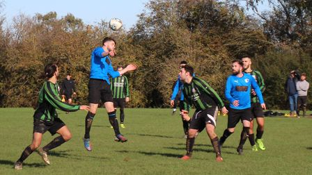 Plough & Harrow put the Pinewood defence under pressure. Picture: BRIAN HUBBALL