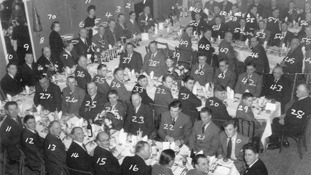 The annual Fatstock dinner at the Public Rooms in St Neots in 1956.
