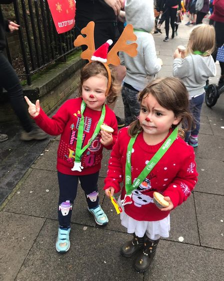 Olivia and Leina at the St Albans Rudolph Run for Rennie Grove Hospice Care. Picture: Rennie Grove
