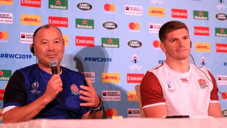 England's coach Eddie Jones and Owen Farrell during the press conference at Keio Plaza Hotel, Tokyo.