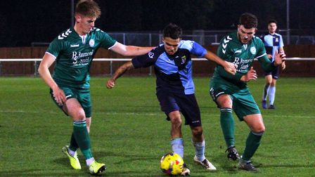 Action from St Neots Town's draw at Biggleswade FC. Picture: