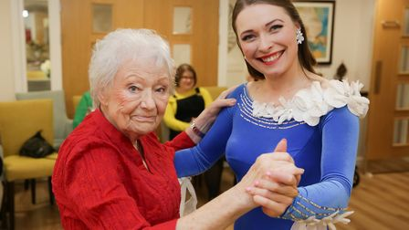 Dulcie Gat and Emma Burrell ballroom dancing at Eleanor House in St Albans. Picture: Andrew H Willia