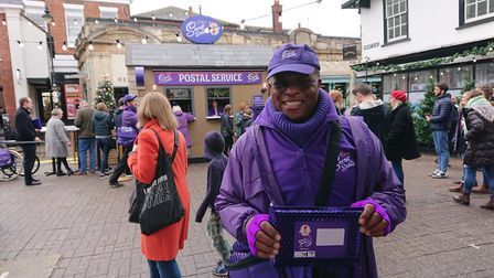 The pop-up Cadbury's stall in Market Place, St Albans.