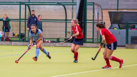 Millie Payne on the ball during St Neots Ladies 1sts' defeat to City of Peterborough 2nds. Picture: