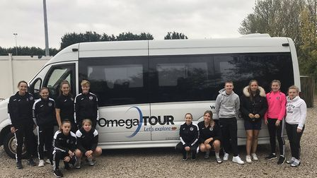 Omega Tour provided a minibus for St Ives Town Ladies' journey to Haringey Borough last Sunday. Pict