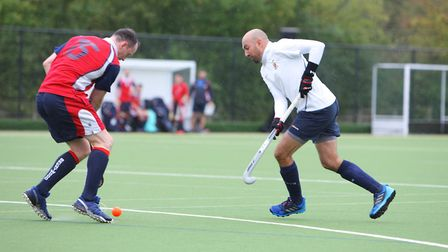 Harpenden V Brentwood - Russell Timms in action for Harpenden. Picture: KARYN HADDON