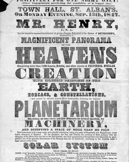 St Albans Town Hall Planetarium poster from 1847. Picture: St Albans Museums