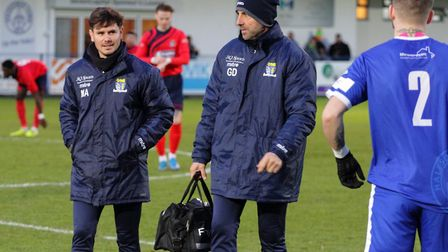 St Neots Town manager Marc Abbott deep in though during their defeat to Halesowen. Picture: DAVID R.