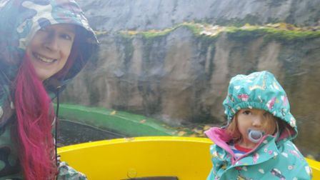 Gulliver's Land, Dinosaur and Farm Park - trying to keep dry on the Jungle River ride.