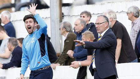Ian and Lee Allinson bark out the orders during their time together at St Albans City. Picture: LEIG