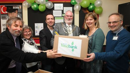 In happier times: The then Royston mayor Robert Smith officially opens Royston Foodbank on March 29,