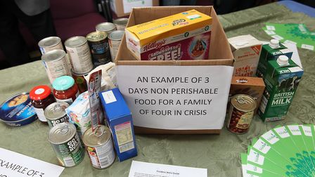 An example of the amount of food a family of four would need for three days. Picture: Danny Loo