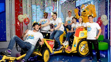 Matt Baker is joined by Pudsey and Team Rickshaw on the 400 mile journey. Picture: BBC / Guy Levy