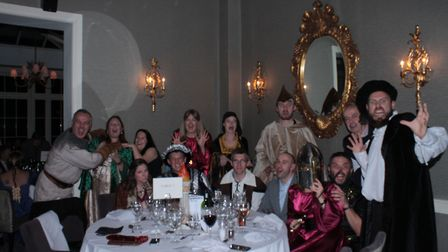 The winning table at the Home-Start Herts medieval murder mystery in St Albans.. Picture: Home-Start