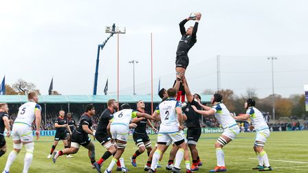Saracens' Nick Isiekwe wins a lineout during the Heineken Champions Cup pool four match at Allianz P