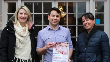 Doula Jane Wallington and private midwife Cecile Davidson with The Old Bull Inn's Ben Jones ahead of