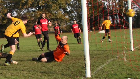 Dan Smith (number 10) scores for Marshalswick Rovers against Royston Rangers Res. Picture: BRIAN HUB