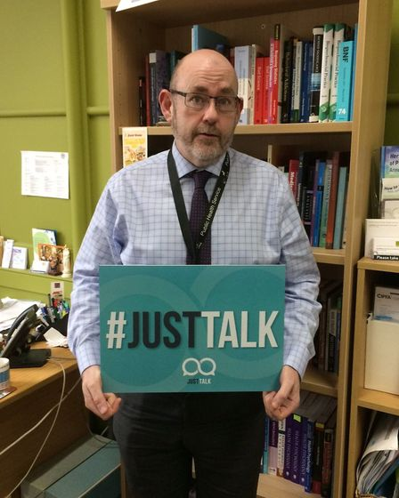 Hertfordshire County Council's director of public health Jim McManus promoting the #JustTalk campaig
