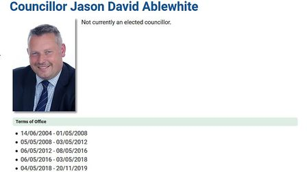 Jason Ablewhite is no longer listed as an elected councillor on the Huntingdonshire District Council