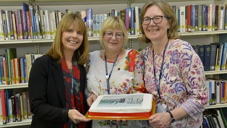 Celebrating at Huntingdon library are, L-R, are Liz Graham, Julie Kisby and Pam Goodwin. Picture: DU