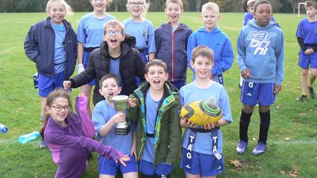 Bury CofE Primary School triumphed in the 'B' team tournament at the Hunts School Sports Partnership