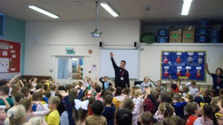 Children at Sawtry Infants School took part in a work-out for CiN