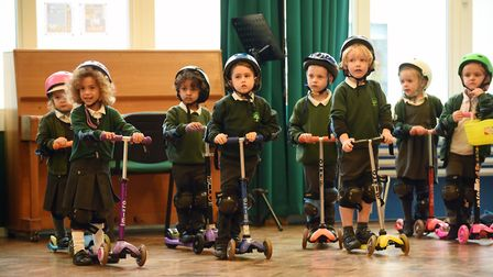 Pupils at Oakwood Primary School in St Albans took part in a scooter safety training course. Picture