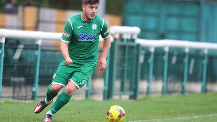 Jack Bradshaw, seen playing for Biggleswade Town, is now a player-coach at Welwyn Garden City. Pictu