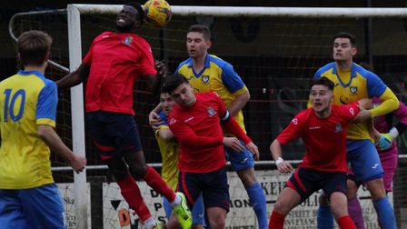 Action from St Neots Town's defeat at Berkhamsted last Saturday. Picture: DAVID R. W. RICHARDSON/RIC