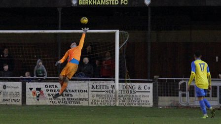 St Neots Town goalkeeper James Philp at full-stretch in their defeat to Berkhamsted. Picture: DAVID