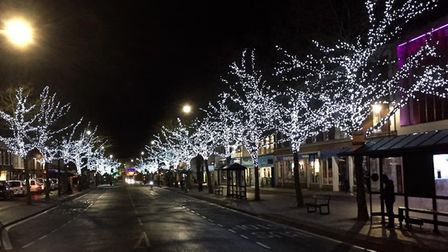 Colour-changing Christmas lights were featured in the trees of St Peter's Street for two years. Phot