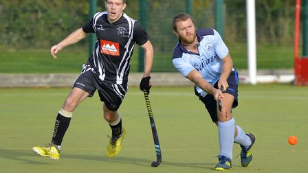 Phil Round on the ball uring St Neots 1sts' draw with Leadenham 1sts in the East Men's League. Pictu